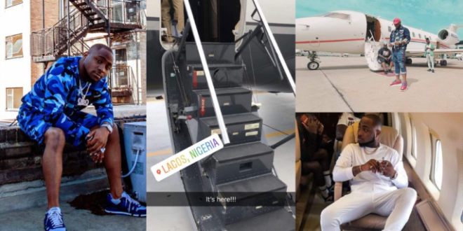 Air OBO, Davido's Private Jet Lands Nigeria.(See First Photo)