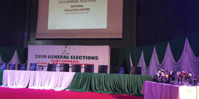 First Photos Today From INEC Collation Centre, Abuja