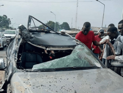 Guy Crashes Benz He Borrowed For Show Off In Delta State (Photos)