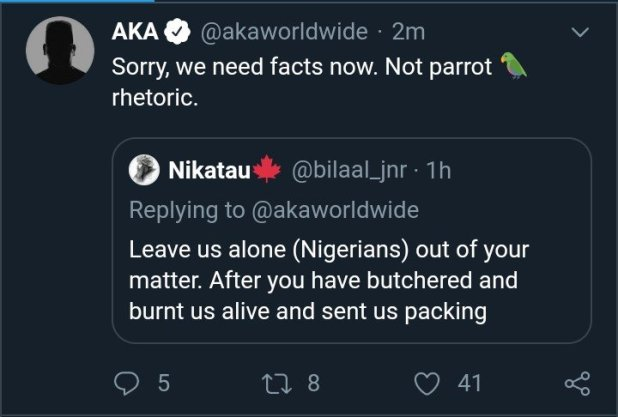 AKA Blasts Nigerian, Asks For Facts Before He Stands Against Xenophobia