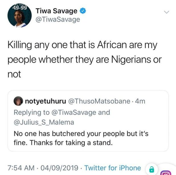 XENOPHOBIA : I Will Not Be Performing In DSTV Delicious Festival - Tiwa Savage