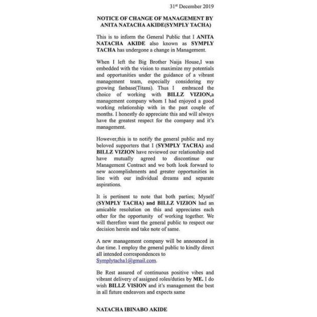 BBNAIJA Tacha Dumps Tiwa Savage's Ex Husband for a New Management