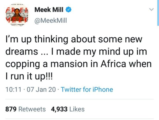 Meek Mill Says He'll Love to Own a House in Africa (See Reactions)