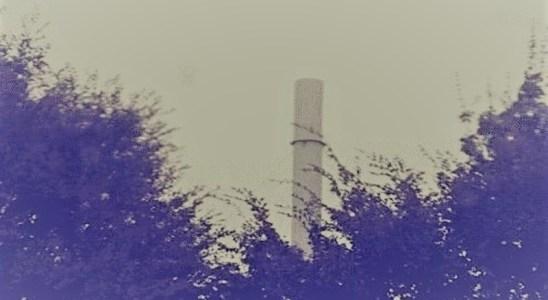 La cheminée de rejets d'Aprochim à Grez-en-Bouère