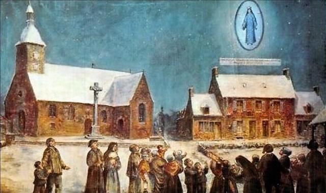 Le village de Pontmain pendant l'apparition qui dura très longtemps