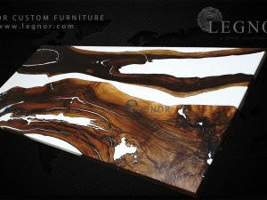 white resin walnut table