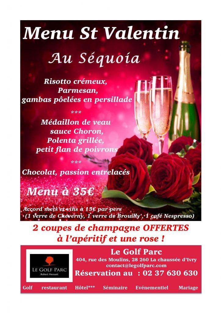 Menu De La St Valentin 35 Avec 2 Coupes De Champagne