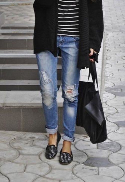 boyfriend-jeans-with--studded-flats