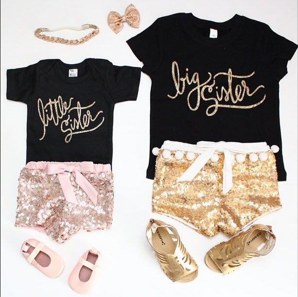 Sugar Plum Lane - Gold Sequin Shorts for Toddlers