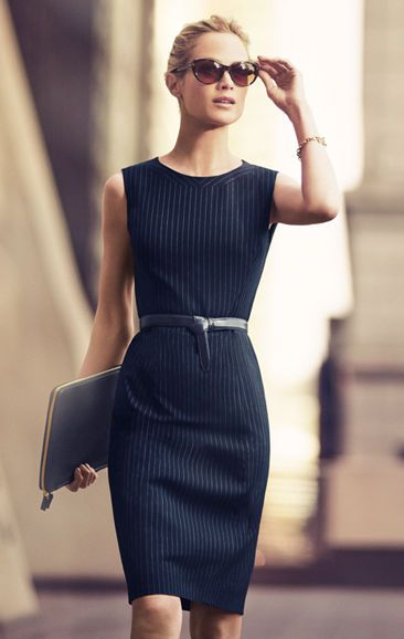 pinstripe little black dress
