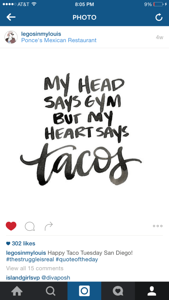my head says gym but my heart says tacos