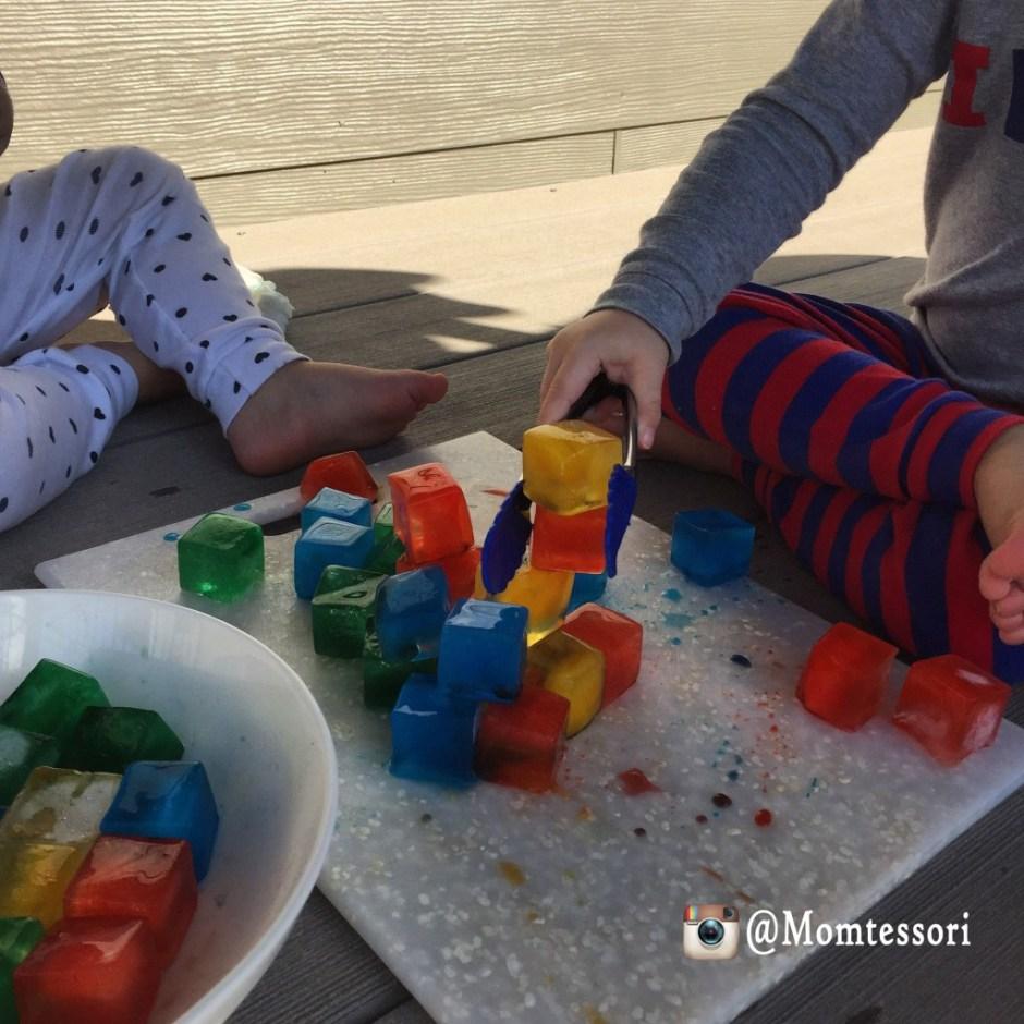 montessori colored ice cubes