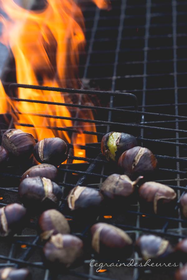 châtaignes rôties au feu de bois