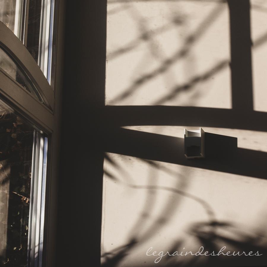 lumière d'hiver dessinant des ombres sur le mur