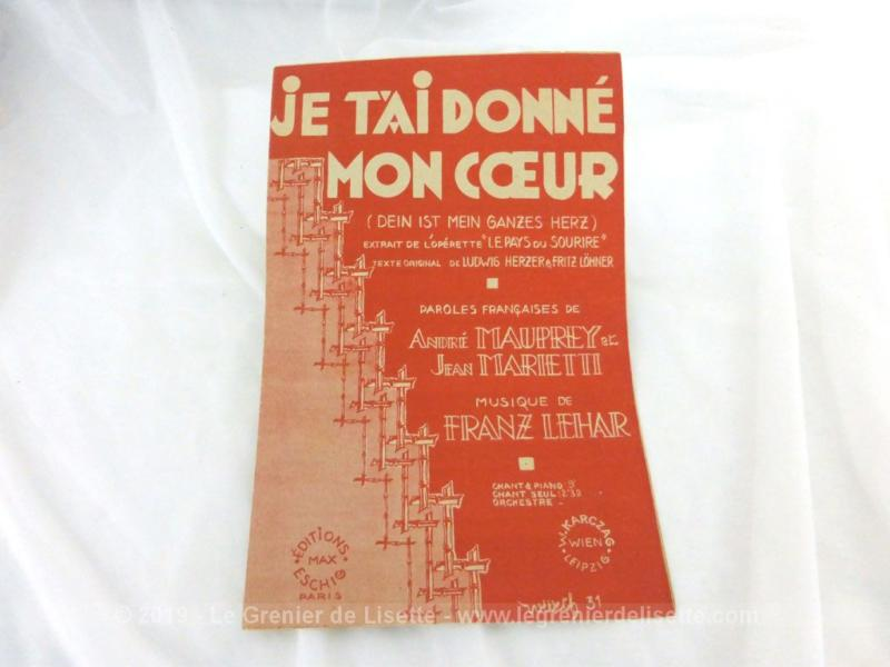 Je T'ai Donné Mon Coeur : donné, coeur, Ancienne, Partition, T'ai, Donné, Coeur, Grenier, Lisette