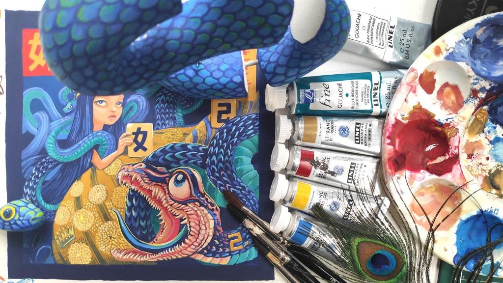 Peinture de l'illustration représentant une reine et un serpent