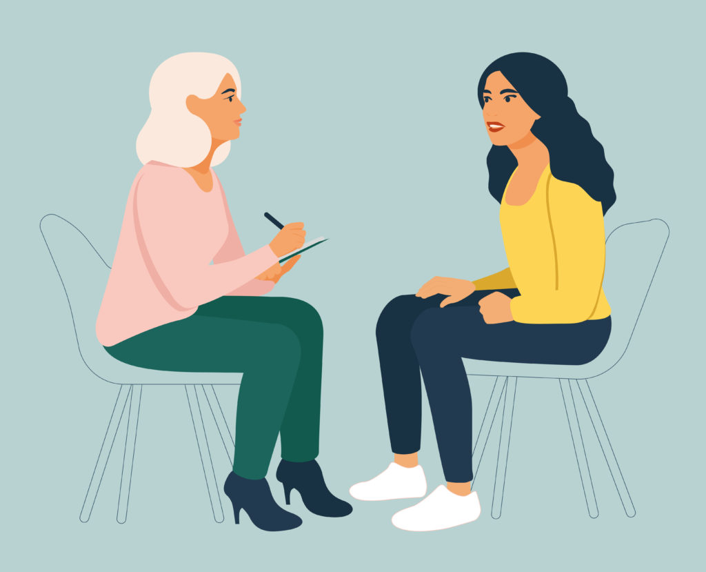 Etre écoutée : un premier pas vers la sortie. Illustration Solidarité Femmes 13 : Femme écoutant avec bienveillance une jeune femme qui se confie et prenant des notes