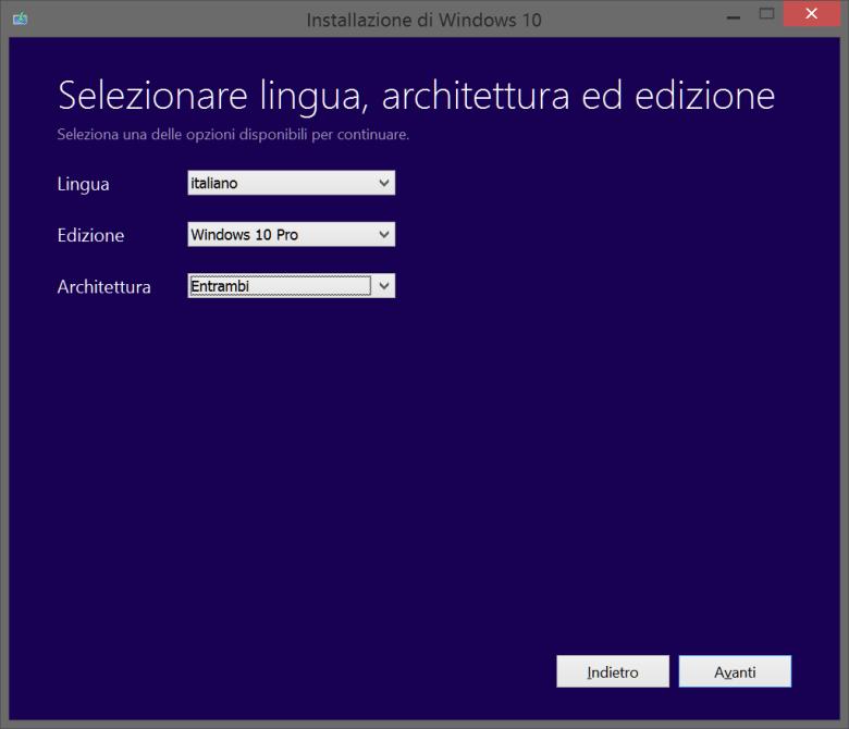 seleziona versione sistema
