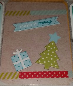 Chip board embellishments and washi tape from my Freckled Fawn kit jazz up a plain Midnight core kit card.