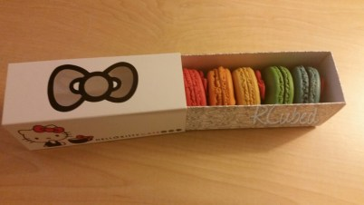 Inside the macaron box.