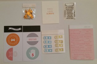 Clockwise from top left: Metallic chipboard stars, letterpress card, stamp set, perforated strips, plastic tabs, and die cut circles