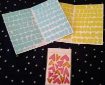 Aqua alphas, heart chipboard shapes, bonus yellow alphas