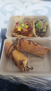 Al pastor and carne asada tacos with a Nutella chimichanga from Salt + Lime