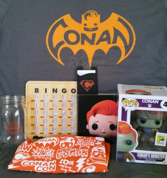 Conan Bingo attendees didn't leave empty handed! We got a bag with all this stuff when we left.