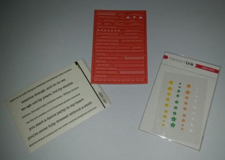 L-R: Vellum phrase stickers, chip board phrases, enamel dots & stars