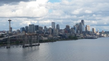 View of Seattle as we sail away from the dock.
