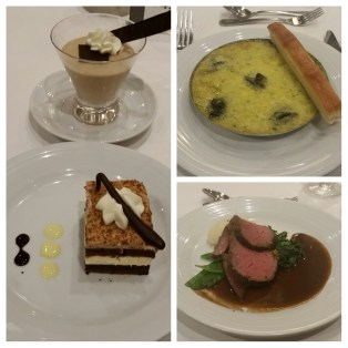 Day 6 dinner - Escargot, sirloin, and double the dessert (Whiskey spiked coffee mousse and Drunken Kahlua cake).