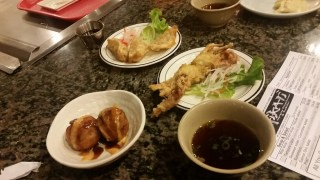 Takoyaki, gyoza, and soft shell crab