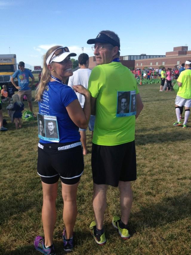 Jim Fowler and his daughter Jody Ludvigson prepare for the American Fork marathon last year.