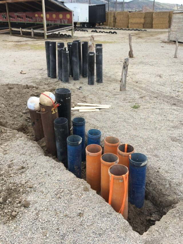 """10"""" fireworks, submerged in tubes in the ground. Photo: Sally Fowler Francom"""