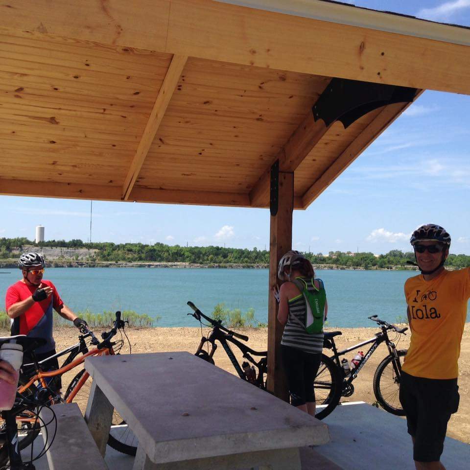Cyclists at the shelter house along the Lehigh Portland Trails South Loop.
