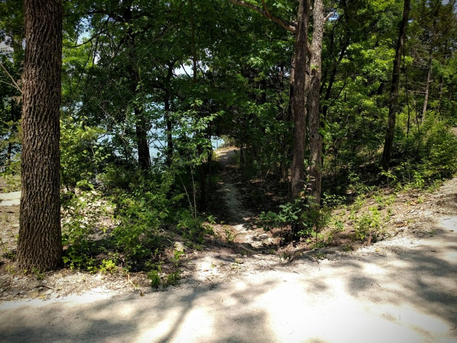 The Mountain Goats Trail begins with a short plunge off the Backbone Trail, onto the bluffs overlooking the lake.