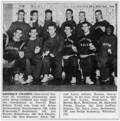 1961 District XI Wrestling Champs