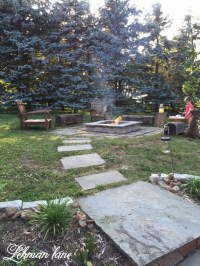 Stone Patio DIY Fire Pit & Wood Beam Benches