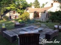 Stone Patio DIY Fire Pit & Wood Beam Benches - Lehman Lane