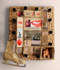 The Tomato Queen – 23 x 27 x 5 Mixed media. Collage and found objects on wood.