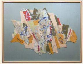 Torn Paper #1– 40 x 33.5 framed Mixed media. Acrylic on torn paper