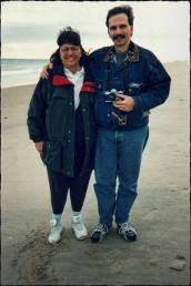 Barb and I on a cold beach on the cape