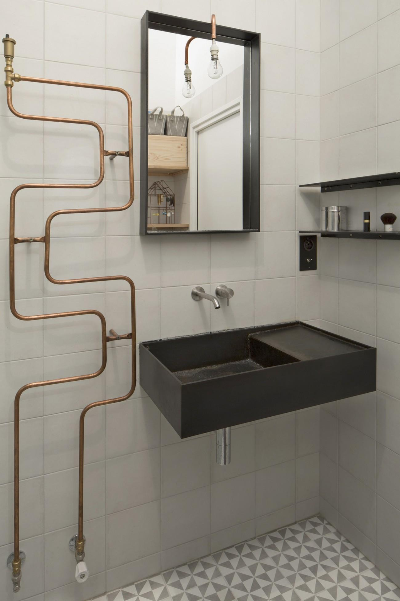Exposed Copper Plumbing Bathroom