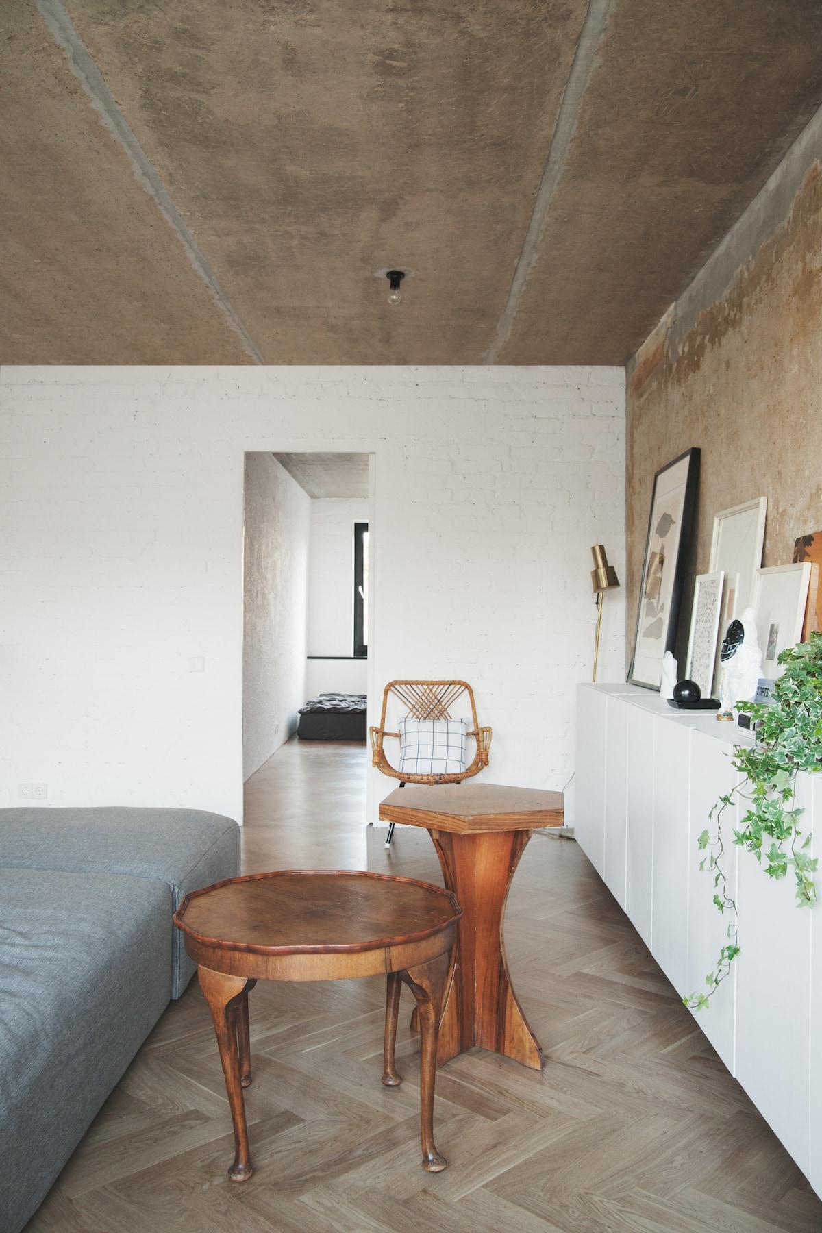 kitchen calculator cart island concrete ceiling apartment | leibal