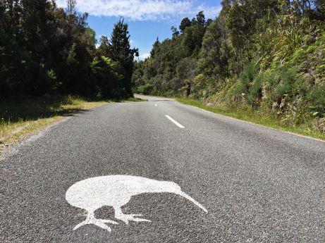 Roadsign Okarito Kiwi near Okarito, South Island, New Zealand