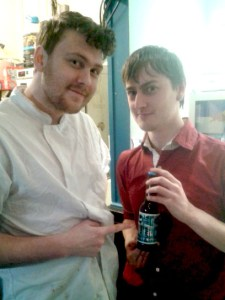 Tom Gray and Ian Smith from Polar Bear holding BrewDog's Punk IPA