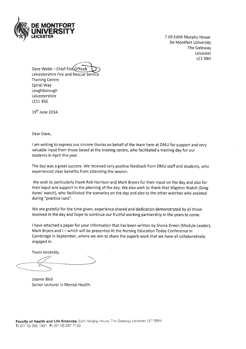Letter Of Thanks Leicestershire Fire And Rescue Service