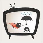 Das Logo von Leidmedien in einem Fernseher. Einmal als Held und einmal als Opfer.