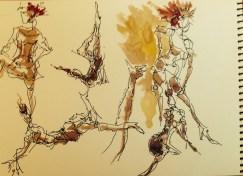 Walnut ink |archival pen| watercolor, Los Angeles model Xine, figure drawing 1 minute poses studies