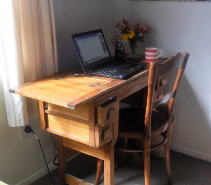 I love the hand crafted table I use as a desk.